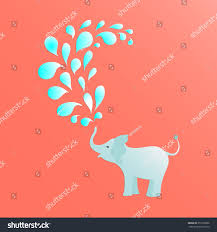 elephant kid spraying colorful water drops stock vector 357252806