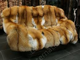 Furry Blanket 548 Saga Gold Fox Fur Blanket Genuine Fur Throw Fur Throw Fox