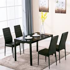 5 Piece Dining Room Sets by Amazon Com 4family 5 Piece Dining Table Set 4 Chairs Glass Metal