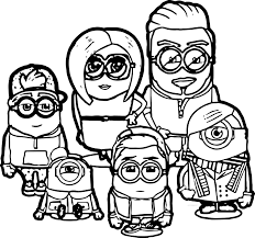 beckham family minions coloring pages wecoloringpage
