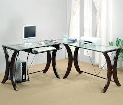 Techni Mobili L Shaped Glass Computer Desk With Chrome Frame Techni Mobili L Shaped Glass Computer Desk Deboto Home Design