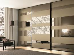 Designer Closet Doors Mirrored Glass Wardrobe With Sliding Doors Mixed With Grey Carpet