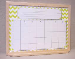 Wall Calendar Organizer Framed Whiteboard Calendar Chartreuse White Chevron Framed