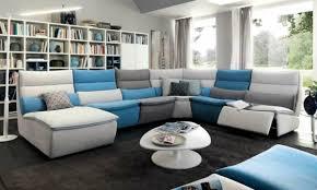canap bleu gris design interieur canapé angle blanc bleu gris salon contemporain