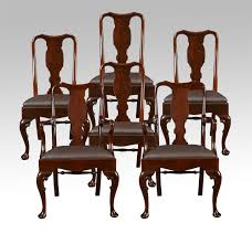 set of six early 20th century queen anne style high back dining