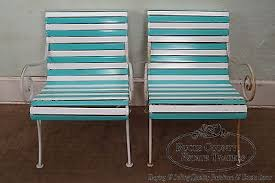 Vinyl Webbing For Patio Chairs Woodard Pair Of Vintage Vinyl Strap Iron Frame Patio Lounge Chairs