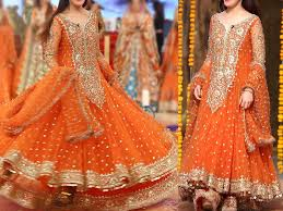 dress pic embroidered chiffon orange maxi dress price in pakistan m010329