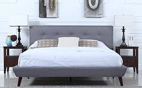 King Bed Frame With Headboard Amazon Com Mid Century Grey Linen Low Profile Platform Bed Frame