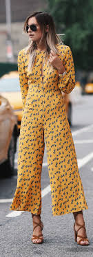 70s jumpsuit womens yellow printed 70 s jumpsuit fashion clothing style