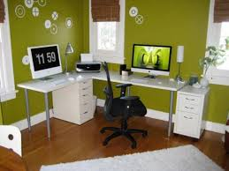 White Wood Computer Desk Small Office Interior Cool Green Painted Office Wall With L