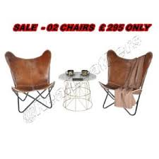 Industrial Armchair 2 X Butterfly Chair Bkf Brown Leather Retro Metal Industrial