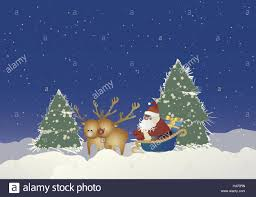 illustration santa claus reindeer sleigh presents