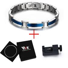 magnetic bracelet with germanium images Stainless steel health care bracelet blue magnetic germanium jpg