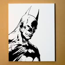 batman art spray paint from handmade stencil black and