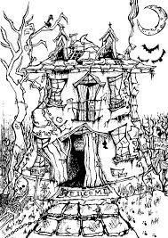 Fall Halloween Coloring Pages by A Big And Scary Haunted House From The Gallery Events Halloween