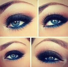 brown and blue eye makeup idea