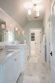 best ideas about blue gray bathrooms pinterest pretty master bathroom with soft blue gray walls marble counters and white wood