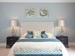 Blue And White Bedrooms by Bedroom Beach Art Bedside Cabinets Cream Buttoned Headboard End