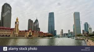 jiefang tianjin world financial center and jiefang bridge by haihe river