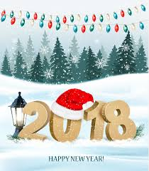 background with colorful garland and 2018 vector vector