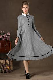 vintage dresses women vintage dress winter autumn sleeve patchwork casual