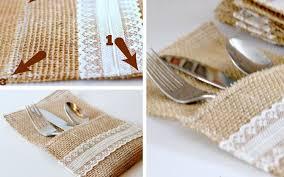 burlap lace utensil holders handmade wedding table decorations