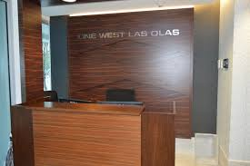 Reception Desk And Decorative Background Wall In High Glossy