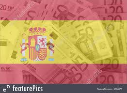 flag of spain with transparent euro banknotes in background