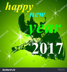 wish you happy new year green stock vector 544304683