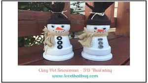 clay pot snowman youtube