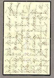 letter on mourning paper showing cross writing