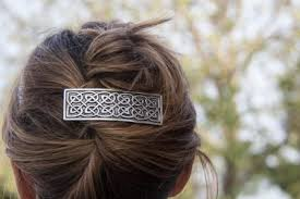 large hair styles with celtic barrettes