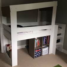 Square Bookshelves Midsleeper Cabin Bed With Pullout Desk And Square Bookshelves