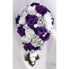 purple bouquets purple silver white