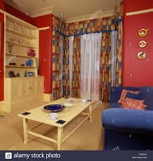 Patterned Curtains And Drapes Patterned Curtains With Voile Drapes In A Red Economy Style