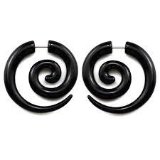 grunge earrings faux écarteurs noirs en spirale ronde 6mm boucles d oreille
