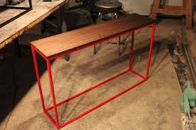 handmade black walnut console table with red steel base by k