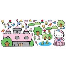 wall murals walmart com roommates hello kitty princess castle giant wall decal