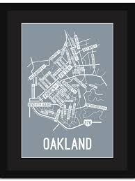 Bates College Map Oakland Pittsburgh Street Map Print Street Posters