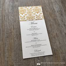 wedding flat menu white cherry invitations princess gold