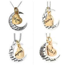 I Love You To The Moon And Back Personalized Necklace Auntie Necklace Ebay