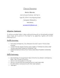 Dance Resume Templates Cover Letter Dance Resume For College Dance Resume For College