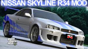 nissan skyline r34 modified gta 5 nissan skyline gt r r34 fast and furious mod hd youtube