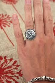 Monogrammed Silver Ring Monogram Rings Mothers Or Bridesmaids Set Of 3 By Lovestrucksoul