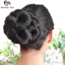 small afro puff buns hair pieces synthetic chignon kids small size knitted polyester hair band