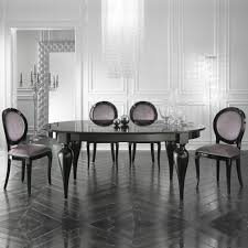 italian designer oval extendable black lacquered dining table