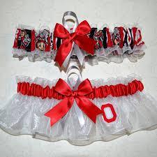 ohio state ribbon wedding garter set handmade with ohio state buckeyes