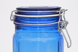 cobalt blue kitchen canisters cobalt blue glass kitchen canister spaghetti jar 80s retro