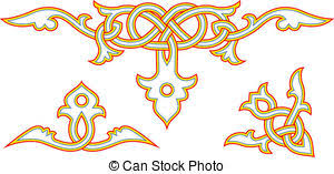 vector clip of slavic ornament set of borders with the