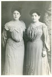early 1900s two victorian women in wonderful old dresses vintage